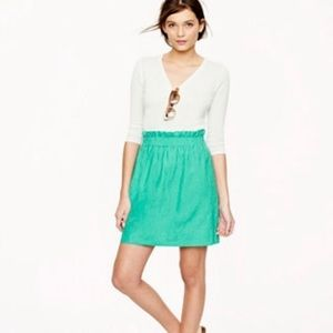 """J. Crew Green Linen """"City"""" Mini Skirt"""